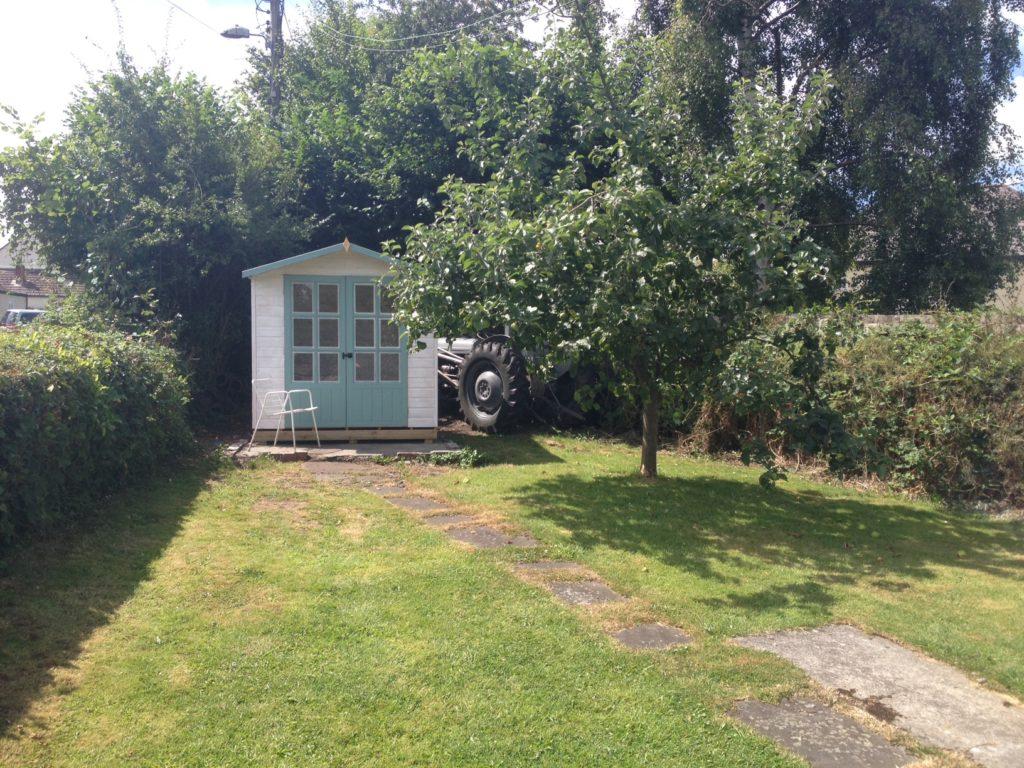 Summerhouse and Massey Ferguson tractor, Pontganol Cottage