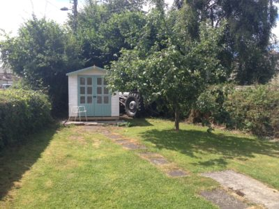 Summerhouse and Massey Ferguson tractor, Pontganol Cottage