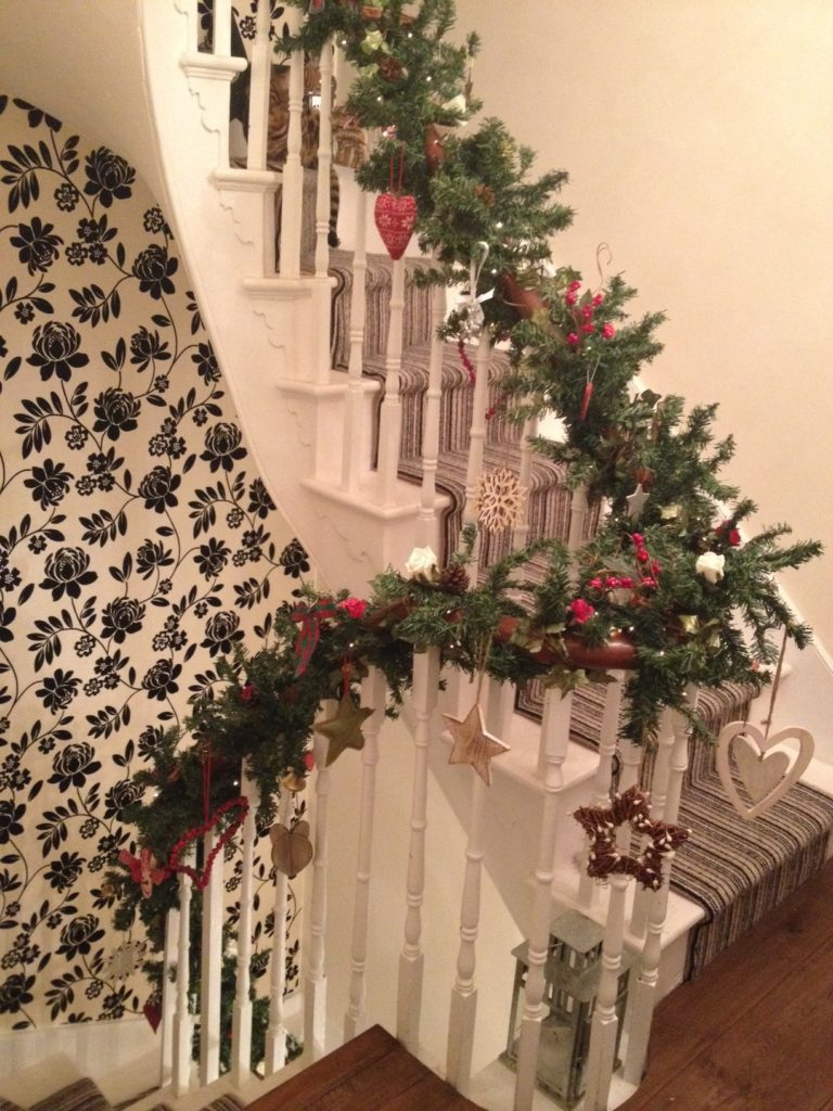 Christmas decorations on staircase